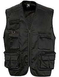 SOL'S - gilet reporter multipoches - veste légère sans manches BODYWARMER - 43630 - taille L - noir - mixte homme femme