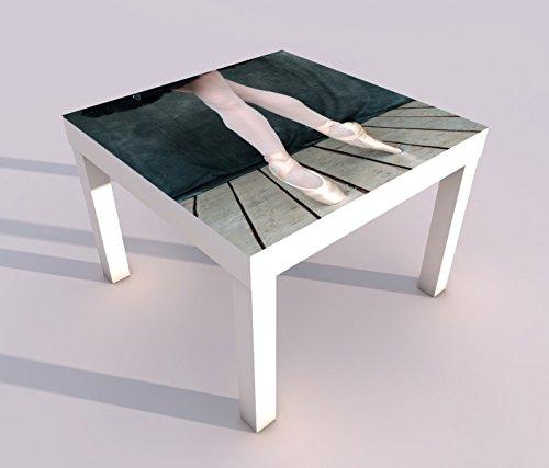 Design - Tisch mit UV Druck 55x55cm Sport Ballett Balletschuhe Schuhe Spieltisch Lack Tische Bild Bilder Kinderzimmer Möbel 18A344, Tisch 1:55x55cm