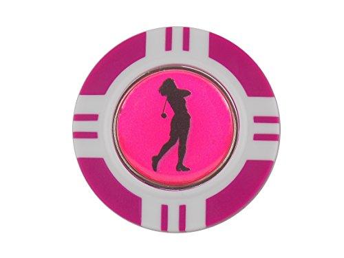 magnetisch Poker Chip und Pink Lady Golfer Ball Marker von Mercia Golf.