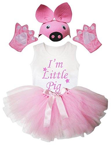 Petitebelle Ich bin kleines Schwein Hemd rosa Hut-Handschuh-Rock-Mädchen 4pc Kostüm 3-4 Jahre Hellrosa, Weiß