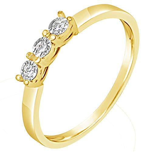 2659ae509398 Anillo Mujer Compromiso Oro y Diamantes - Oro Amarillo 9 Quilates 375  Diamantes 0.03 Quilates