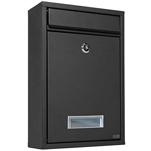TecTake Briefkasten Briefkastenanlage 32,5 x 21,5 x 85 cm mit Namensschild aus Stahl schwarz - 3