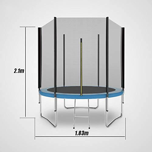 LXLA – Kids Round Trampoline with Safety Enclosure and Ladder 183cm for Indoor/Outdoor – Max Load 200KG