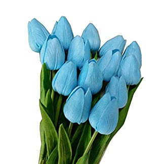 10 Piezas tulipán Flores Artificiales para decoración de látex Real Touch Bridal Wedding Bouquet Art Deco (Azul) [Kitchen]