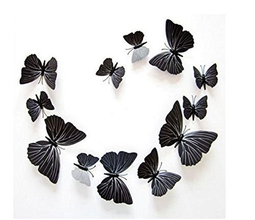 Haimoburg 3D Schmetterlinge Set 12 tlg. Wandtattoo Wanddeko Klebepunkten+ Magnet (Schwarz)