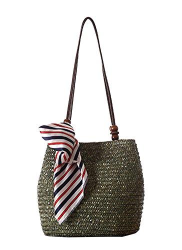 TININNA Donne Estiva Elegante Borse di Spiaggia Paglia Borsa A Tracolla Sacchetto Tote di Viaggio(Brown) Verde