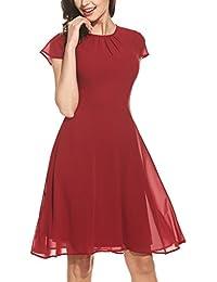 eb45a50ada0 Aimado Damen Kleide Kappen Hülsen Schlüsselloch Rückseiten und Aufflackern  Cocktailparty-Chiffon- Kleid