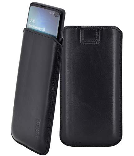 Galaxy-leder Etui (Suncase Original Tasche kompatibel mit Samsung Galaxy S10 Hülle *Ultra Slim* Leder Etui Handytasche Ledertasche Schutzhülle Case (mit Rückzuglasche) in Schwarz)