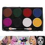 lailongp 8 Farben Aquarellfarben, Gesichtskörperfarbe Palette Set, Make-up ungiftig Wasser Farbe Öl Weihnachtsfeier Kostüm Primer