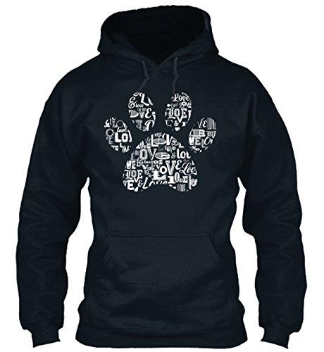Paw Prints Hoodie (Bequemer Hoodie Damen / Herren / Unisex von Teespring   Originelles Outfit für jeden Anlass und lustige Geschenksidee - Love Dog Paw Print I Love Dogs T-Shirt G)