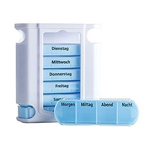 """VANLO Pillendose""""Tower"""" 7 Tage mit 4 Fächern pro Tag, Pillenbox,Tablettendose, Wochendosierer, Medikamentenbox in deutsch"""