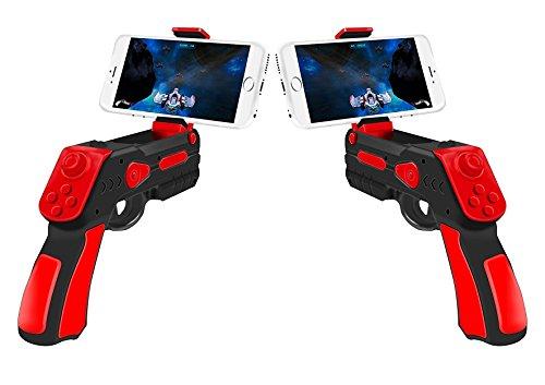 Pistola realidad aumentada AR-Gun® Pack 2 unidades posibilidad juego en pareja app propia con gran variedad de juegos augmented reality gun válida para todos los iphone android roja