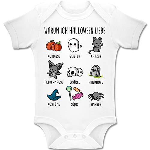 Shirtracer Anlässe Baby - Warum ich Halloween Liebe - 18-24 Monate - Weiß - BZ10 - Baby Body Kurzarm Jungen Mädchen