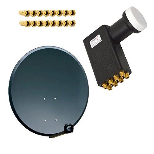 PremiumX PXA80 Aluminium 80cm Antenne Digital Sat Schüssel Spiegel Anthrazit mit LNB Octo 0,1dB zum direktanschluss von 8 Teilnehmer HDTV FullHD 3D inkl. 16 F-Stecker vergoldet