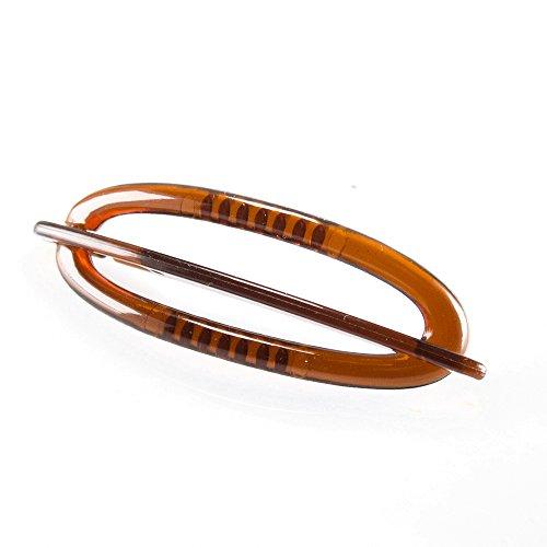 2Stk Libellenspange oval 6x2cm in havanna - Made in Germany - WeLoveBeads