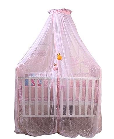 Icegrey Betthimmel Baldachin Kinder Himmelbett Insektenschutz Mückennetz für Kinderbetten Mit Klemme Himmelstange Schleierhalter Rosa