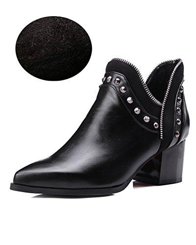 Minetom Damen Herbst Winter Nieten Stiefel Winterstiefel Stiefeletten Warm Schuhe mit Hohen Absätzen Chelsea Boots Schwarz Mit Plüsch EU 34 (Slouch Schnallen-knie-boot)