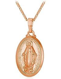 bc712077221 U7 Collar con Colgante de Santa María Medalla Milagrosa Chapado en Oro  18K Oro Rosado