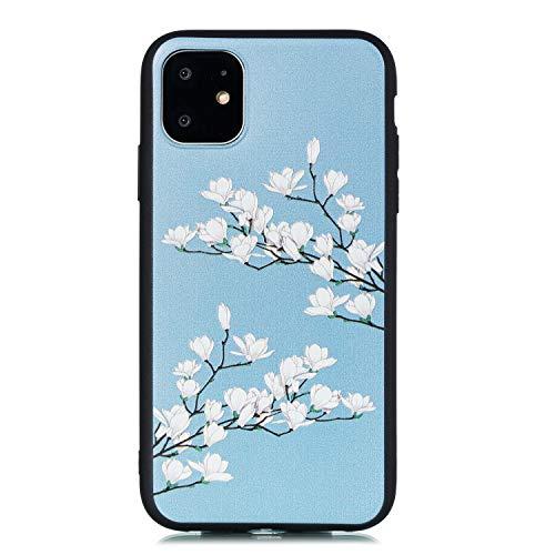 Miagon für iPhone 11 Pro (5.8 Zoll) Zurück Hülle,Weiß Blume Muster Gedruckt Entwurf Plastik Weich Bumper Flexibel Schützend HandyHülle