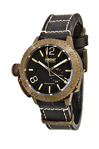 UBoat Herren Datum klassisch Automatik Uhr mit Leder Armband 9008