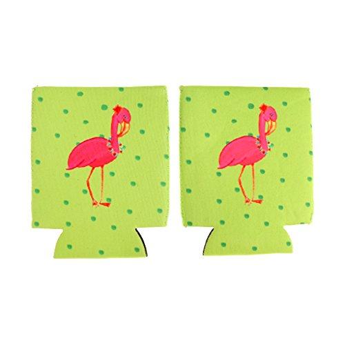 Blesiya 2pcs Pack Flamingo Faltbarer Dosenkühler Bierkühler für unterwegs, Garten, Grilen, Grillparty, Picknick, Ausflug- geeignet für Dosen / Bierdosen