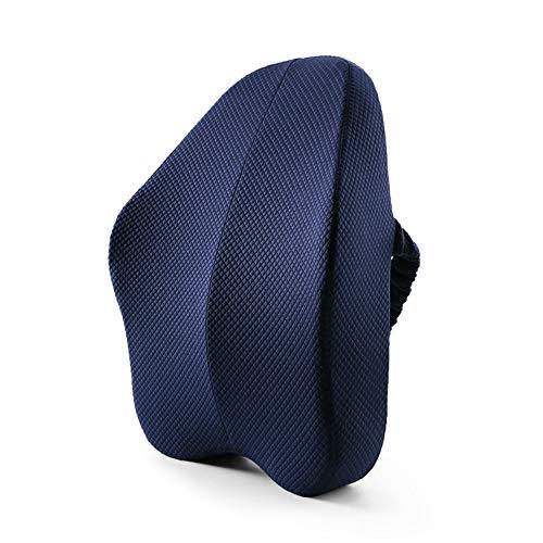 YUSDP Taillenkissen Lendenwirbelstütze Memory-Schaum Rücken-Matte mit 3D-Netz-Bezug Luftschichtstoff für unteren Rücken Schmerzlinderung Ideales Kissen für Computer Bürostuhl Blau -