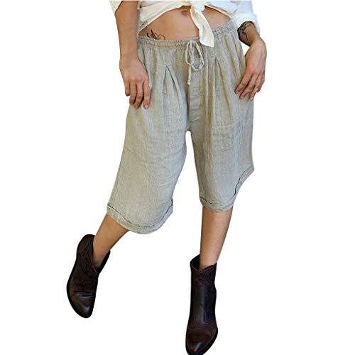 DQANIU- Damenhosen, Kleidung, Schuhe & Accessoires - Hosen, 2019 Mode Frauen Sexy Solid Lace Up Baumwolle und Leinen Casual Vintage Kniehosen, S-XXL