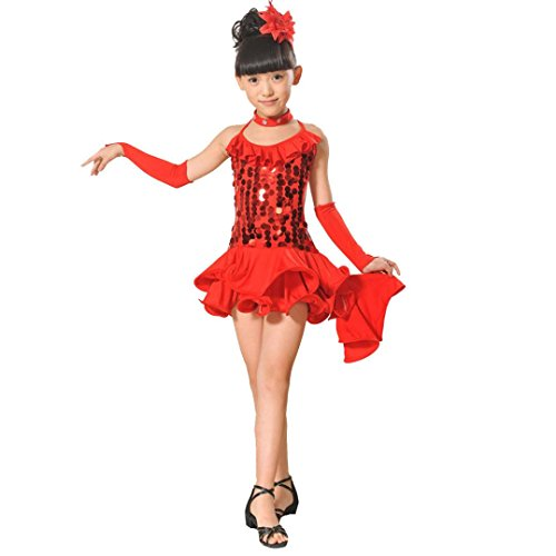 Sommer Kinder Baby Mädchen Latin Ballett Kleid Party Dancewear Ballroom Dance Kostüme (110, Red) (Red Tutu Kostüm Idee)