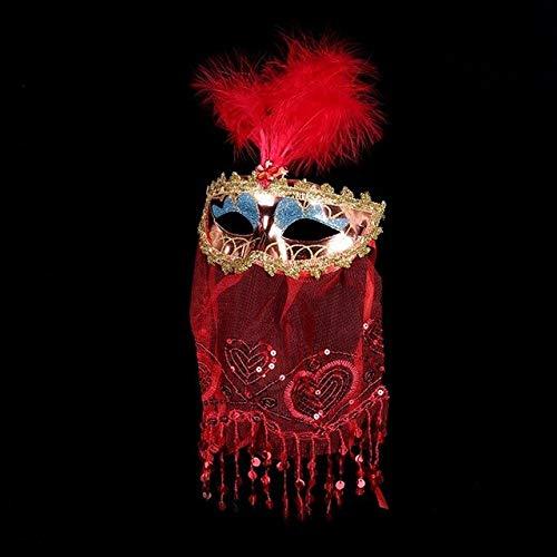 Lace Veil Mask venezianischen Bauchtänzerinnen Maske Maskerade Schleier Augenmasken Weihnachtsfeier Kleid Dekoration, rot ()