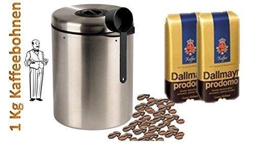 Dallmayr Prodomo Ganze Bohnen - 2 x 500 g = 1KG + Edelstahldose für 1 kg Kaffeebohnen Neu mit Silicabag von Conny Clever® zur Erhaltung der Aromastoffe von James Premium®