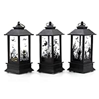 Wqingng Hanging Lantern 3 Pcs Halloween LED Candle Lantern, Flameless LED Tea Lights Candle Battery Operated Fake Candles Halloween Decoration Party