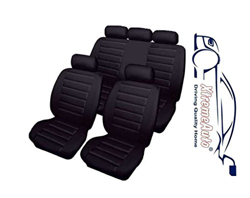 XtremeAuto® Bloomsbury Black Leather Look 8 PCE Car Seat Covers Includes XtremeAuto Sticker