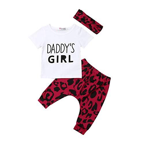Kleinkind Baby Mädchen Outfits Set 3 Stück Langarm Brief T Shirt Lange Hose Stirnband Baumwolle Kleidung Set für 0-24 Monate (12-18 Monate, Hellrot) -