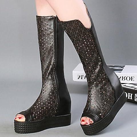 Ei&iLI Zapatos de mujer - Tacón Cuña - Punta Abierta / Innovador / Botas a la Moda - Botas - Vestido / Casual - Semicuero - Negro / Blanco , black , us8 / eu39 / uk6 / cn39