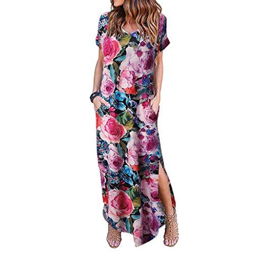 Amcool Damen Kleider Maxi Sommerkleid Casual V-Ausschnitt Kurzarm Split Lange Strandkleid Swing Boho Blumen Casual Schlitz Kleid mit Taschen - Split-baumwoll-mischung