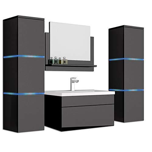 Home Deluxe - Badmöbel-Set - Wangerooge schwarz - XL - inkl. Waschbecken und komplettem Z