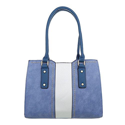 iTal-dEsiGn Damentasche Mittelgroße Schultertasche Used Optik Handtasche Kunstleder TA-K659 Blau Weiß