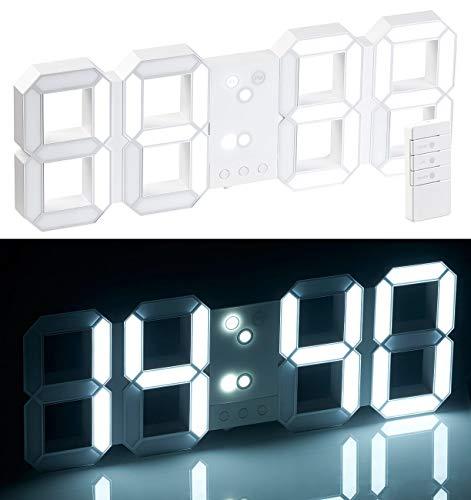 Lunartec Uhr: Funk-LED-Tisch- & Wanduhr, großen Ziffern, Wecker, dimmbar, 45 cm (Funkuhr-Wanduhr Wohnzimmer)