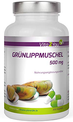 Grünlippmuschel - 300 Kapseln - 500mg pro Kapsel - Hochdosiert - Premium Qualität - Made in Germany