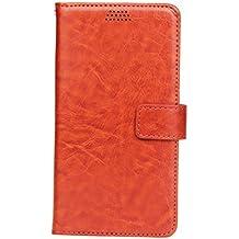 Aomo LG G5 Case PU Skin Oil Leather Wallet Case Cover Refined Housse de protection haut de gamme pour LG G5 avec fentes de cartes (2016)-Brown