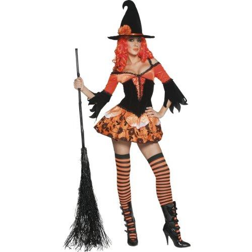 Halloween Damen Kostüm verdorbene Hexe Zauberin orange (Kostüm Verdorben)