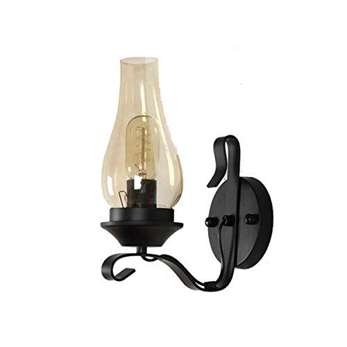 Lampada da parete industriale vintage sconce edison lampada da parete retrò in vetro chiaro lampada da tavolo in metallo e27 perfetto per cucina sala da pranzo loft coffee bar (lampadina non inclusa)