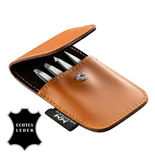 Hochwertiges Pinzetten Set mit schönem ECHTLEDER Etui | inkl. Geschenkbox | 100% Edelstahl | 4-teiliges Set | viele Anwendungsbereiche | Augenbrauen zupfen | Barthaare | präzise Haarentfernung