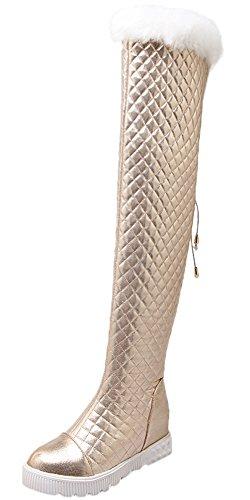HooH Damen Overknee Stiefel Winter Warm Fake Rabbit Fur Rhombus Platform Knie hoch Stiefel Gold 42 EU (Knie Gold Hoch)