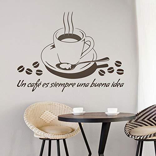 JJHR WandtattoosWandbilder Zitate Un Cafe Es Siempre Una Buena Idee Wandtattoo Cut Aufkleber Für Café Bar Diy 56 * 42 Cm