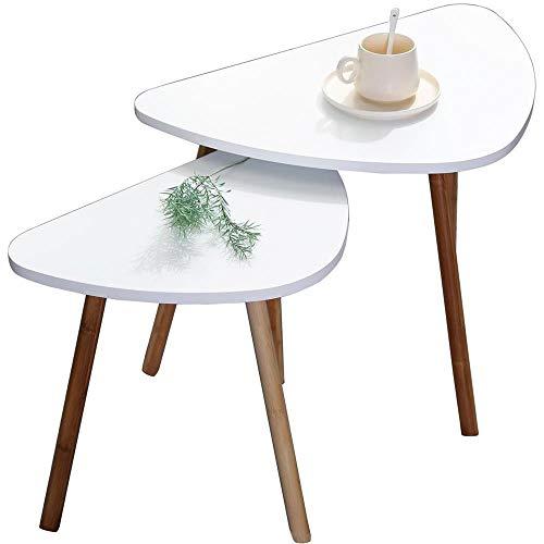 Etnicart - Set di 2 tavolini da caffe bianchi in legno scandivavi 60x40xH45cm e 46x30xH41cm minimalisti appoggio piante vasi comodino legno MDF-Prodotto di QUALITA'