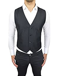 Alessandro Gilles Panciotto Gilet uomo sartoriale nero lucido elegante con  bottoni gioiello 1594f5f31ea