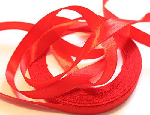 CaPiSo® 22m Satinband 6mm oder 10mm Breite zur Auswahl Schleifenband Geschenkband Dekoband Weihnachten Hochzeit (Rot, 22m6mm) (Weihnachts-geschenkband)