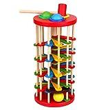 Sanzhileg Woody Portable und praktische klopfen die Ball fällt Leiter Spielzeug aus Holz Phantasie Tabelle Rolling Ball Ladder Modell sicher und innovativ