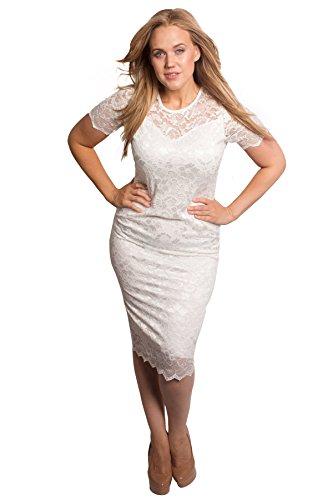 Floral Lace Bodycon Dress White 20